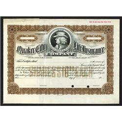Quaker City Life Insurance Co., ca.1920 Specimen Stock