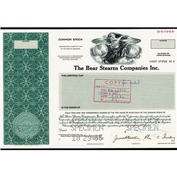 Bear Stearns Co. Inc., 1985 Unique Specimen Mockup Stock Certificate.