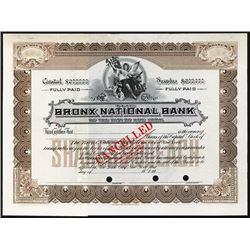 Bronx National Bank of the City of New York, ca.1950-1960 Specimen Stock