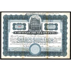 Carnegie Trust Company, 1908 Stock Certificate.