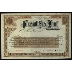 Fourteenth Street Bank, Specimen Stock.