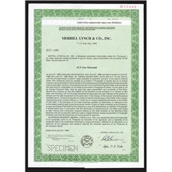 Merrill Lynch and Co., Inc. 1988 Specimen Bond