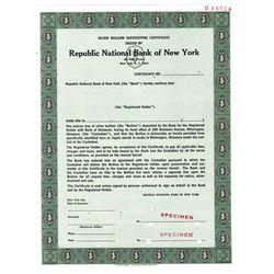 Republic National Bank of New York, ca.1950-1960 Specimen Stock Certificate