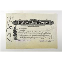 Colonial Trust Co., 1928 Proof Stock Certificate