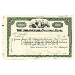 Philadelphia National Bank, 1928 Unique Approval Proof Stock Certificate