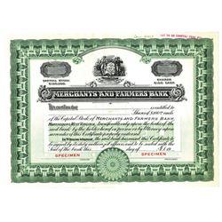 Merchants and Farmers Bank, ca.1940-1950 Specimen Stock Certificate