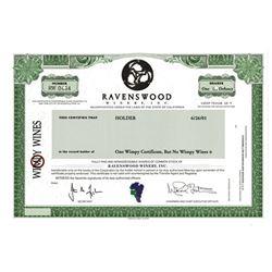 Ravenswood Winery, Inc., 2001 Specimen Bond
