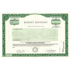 Robert Mondavi Corp., ca.1980-1990 Specimen Stock Certificate