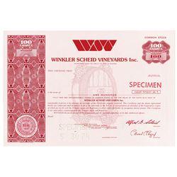Winkler Scheid Vineyards Inc., 1974 Specimen Stock Certificate