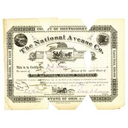 National Avenue Co., 1880 Cancelled Stock Certificate, Early Horse Racing Certificate.