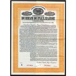 Durham Duplex Razor Co., 1911 Specimen Bond