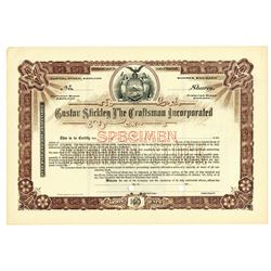 Gustav Stickley The Craftsman Inc., ca.1910-1919 Specimen Stock Certificate.