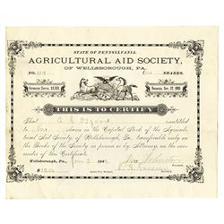 Agricultural Aid Society, 1887 Issued Stock Certificate