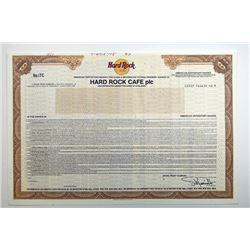 Hard Rock Caf_, plc. 1987.  Specimen Stock Certificate.