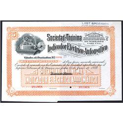 Indicador Electrico Automatico, 1889 Specimen Stock
