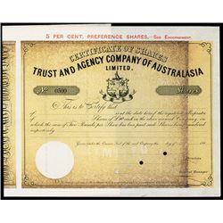 Trust and Agency Co. Of Australia Ltd., ca1880-1900 Specimen Stock Certificate