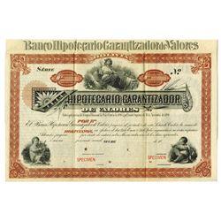 Banco Hipotecario Garantizador De Valores, ca.1880-1900 Specimen Bond