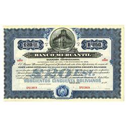 Banco Mercantil, ca.1920-1930 Specimen Bond