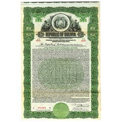 Republic of Bolivia, 1922 Specimen Bond