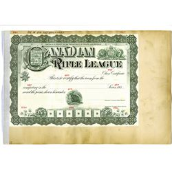 Canadian Rifle League, ca.1930-1940 Proof Stock Certificate