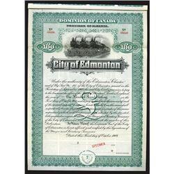 City of Edmonton, 1908 Specimen Bond
