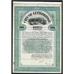 City of Lethbridge, 1909 Specimen Bond