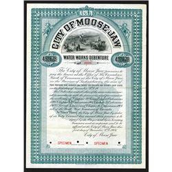 City of Moose Jaw, 1906 Specimen Bond