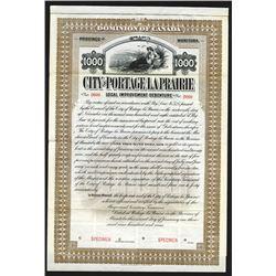 City of Portage la Prairie, 1909 Specimen Bond
