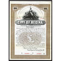 City of Regina, 1908 Specimen Bond