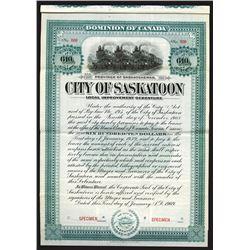City of Saskatoon, 1909 Specimen Bond