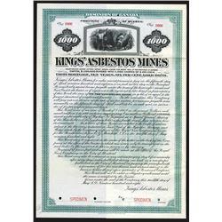 Kings' Asbestos Mines, 1908 Specimen Bond