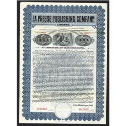 La Presse Publishing Co., 1908 Specimen Bond