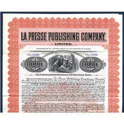 La Presse Publishing Co., Specimen Bond.