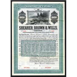 Shearer, Brown & Wills, LTD., 1904 Specimen Bond