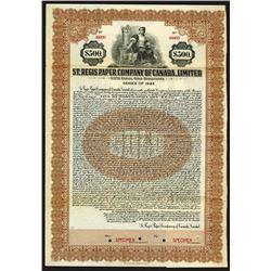 St. Regis Paper Co. of Canada, Ltd., 1924 Specimen Bond