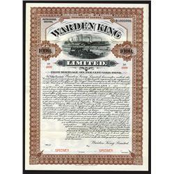 Warden King Ltd., 1908 Specimen Bond