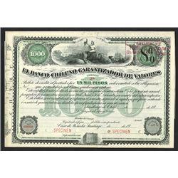 Banco Chileno Garantizador de Valores, ca.1900-1920 Specimen Bond