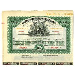 Caja De Credito Hipotecario Fundada El Ano, ca.1900-1920 Specimen Bond