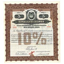 Republica de Colombia, 1919 Specimen Bond