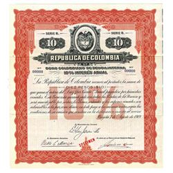 Republica de Colombia, 1919 Specimen Bond