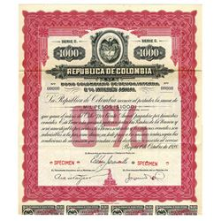 Republica de Colombia, 1928 Specimen Bond