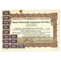 Banco Mercantil Americano de Cuba, 1918 Issued Stock Certificate