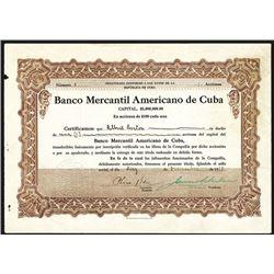 Banco Mercantil Americano de Cuba, S/N 1, Issued Stock Certificate.