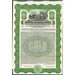 Compania Azucarera Baragua/Baragua Sugar Co. 1923 Specimen Bond
