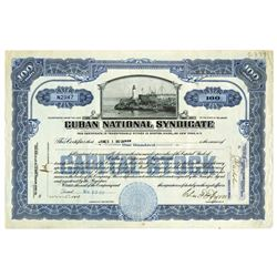 Cuban National Syndicate, 1931 Issued Stock Certificate