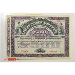 Banco Comercial Y Agricola, ca.1910-1920 Specimen Bond