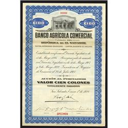 Banco Agricola Comercial, 1928 Specimen Bond