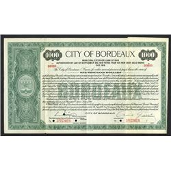 City of Bordeaux 1916 Specimen Bond