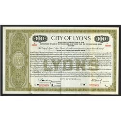 City of Lyons 1916 Specimen Bond