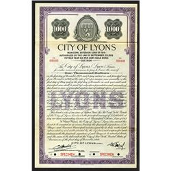 City of Lyons 1919 Specimen Bond